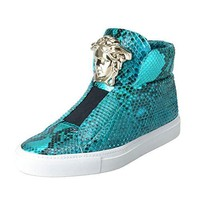 Versace Men's Turquoise Python Leather Medusa Sneakers Shoes US 8/8.5 IT 41
