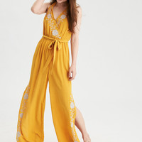 AE Embroidered Halter Jumpsuit, Yellow