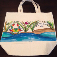 Hand Painted Blue Crab and Water Tote Bag