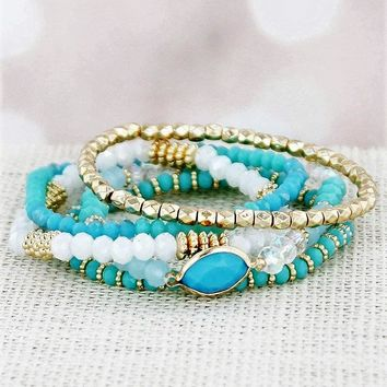TURQUOISE AND GOLD-TONE MIXED BEAD STRETCH BRACELET SET