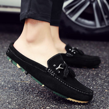 Summer Baotou half slipper men's true leather shoes British lazy peas tide shoes summer sandals without leisure