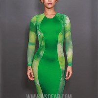 Green Printed Long Sleeve Midi Bodycon Dress