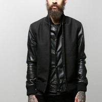 oak men's black sleeve varsity jacket Oak