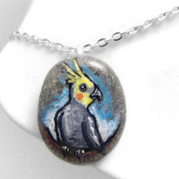Cockatiel Necklace, Yellow Bird Pendant, Pet Memorial Jewelry, Hand Painted Rock, Beach Stone, Pet Owner Gift, Blue Sky