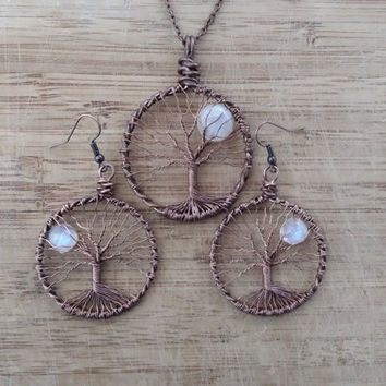 TREE of LIFE Necklace Copper Wired Wrapped  Moonstone FULLMOON  Tree of Life Pendant and Earrings Jewelry