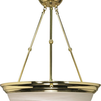 "20"" Hanging Pendant Light Fixture in Polished Brass Finish"