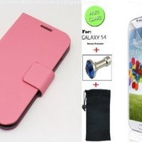"""Baby Pink"" Faux Leather Skin Bracket Flip Case Cover Wallet With Magnetic Closure & KickStand For Samsung Galaxy S4 (INCLUDED: MATTE, ANTI-GLARE FRONT SCREEN PROTECTOR + DIAMOND EARPHONE DUST PLUG + PHONE DUST BAG POUCH)"