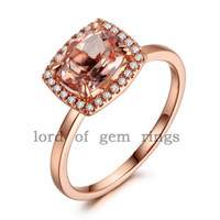 Cushion Morganite Engagement Ring Diamond Halo 14K Rose Gold 6x8mm