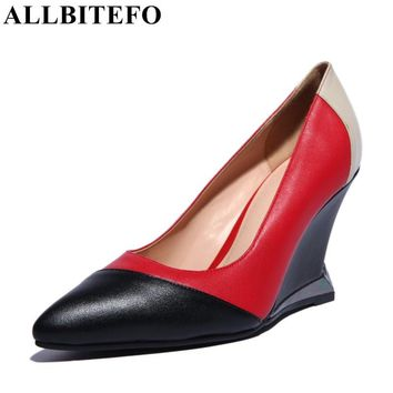 ALLBITEFO fashion brand Genuine Leather pointed toe mixed colors wedges women pumps fashion sexy high quality women party shoes