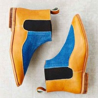 Osborn Indigo Leather Chelsea Boot- Blue Multi
