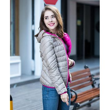 Woman 90% White Duck Down Jacket Hooded Ultra Light Down Jackets Reversible Female Parkas Two Side Wear