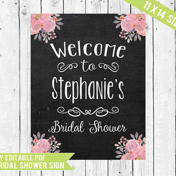 Bridal Shower Welcome Sign // Welcome Sign // Bridal Shower Sign // 11x14 // PDF you edit with ADOBE READER