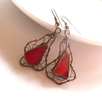 Stained glass earrings copper wire jewelry red one of a kind funky