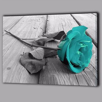 Back White Teal Rose Blue Enchantress Canvas Large Wall Art Picture Gift Flower Floral Home Decor