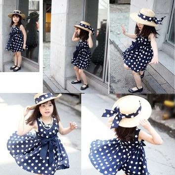 Hot Sale spring and summer children clothing girls polka dot dress sleeveless kids girls princess dress