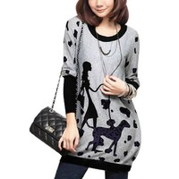 Allegra K Fall Winter Women Dog and Lady Pattern Tunic Knit Top