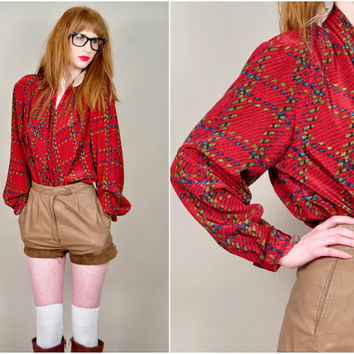 VINTAGE 80s ULTRA draped brick red silky basket weave plaid plunging wrap bust boho blouse top