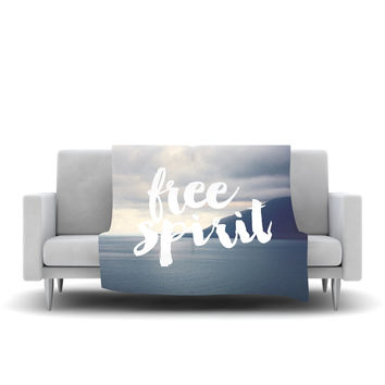 "Catherine McDonald ""Free Spirit"" Coastal Typography Fleece Throw Blanket"