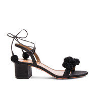 Aquazzura Pom Pom Sandals in Black | FWRD