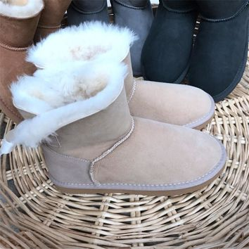 Hemmyi 2017 Women Australia Classic Style Ug Snow Boots High-quality Sheepskin Kid Suede Bowknot Winter Warm Wool Ankle Boots