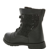 Black Crochet Combat Boot