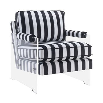 Serena Black and White Velvet/Lucite Chair