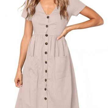 Pink Stylish Button Front Midi Dresses with Pockets