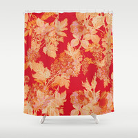 gold and red floral Shower Curtain by Clemm