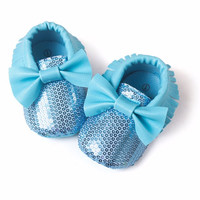 Blue Sequin Bow Faux Leather Moccs
