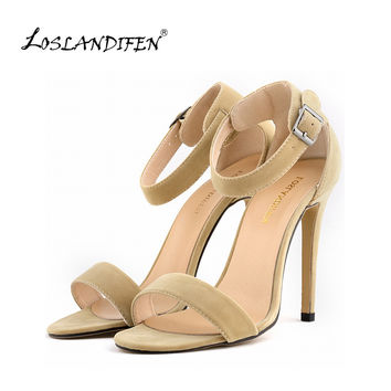 Women's Leather Open Toe High Heels
