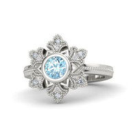 Frozen Snowflake 925 Sterling Silver Platinum Plating With 0.5ct Blue Zircon Adjustable Ring