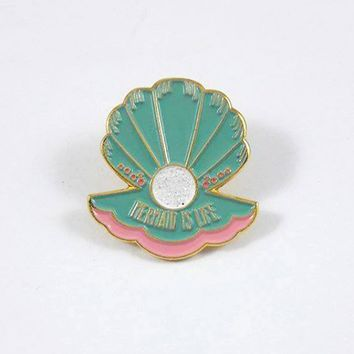Lapel Pins - Mermaid is Life Clam Shell Mint Lapel Pin