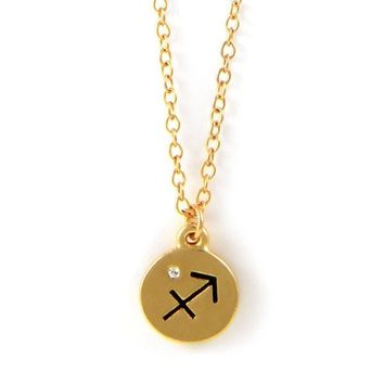 Sagittarius Gold Chain Necklace with Crystal Accent