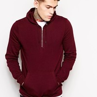 ASOS Hoodie With Half Zip - Oxblood