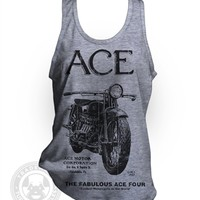 Ace Four Vintage 20's Motorcycle garage AD on American Apparel TR408 Tri-Blend Tank Top A-Shirt from Tuffy McPuggles
