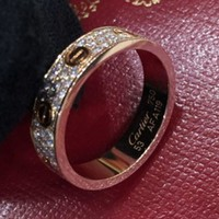 ONETOW Cartier titanium steel rose gold three row diamond ring