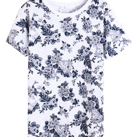 White Floral Print Slit Side Short Sleeve T-shirt