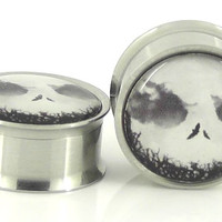 Jack Skellington Image Plugs Embedded Resin Filled  by GlitzGauge