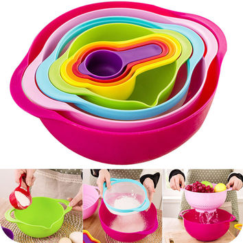 LEKOCH Compact Mixing Bowl Food Prep and Measuring Set Bakeware Rainbow Bowl 8 in 1 Kitchen Cooking Tool