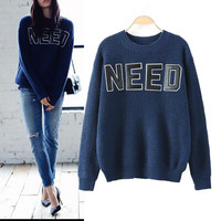 Letter Pattern Long Sleeve Pullovers Knitted Sweater