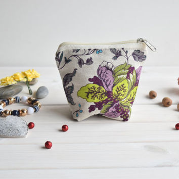 Floral charger bag, Cosmetic pouch, Make Up Pouch, Toiletery bag, Project bag, Travel bag, Bridesmaid gift, Wedding gift, Bridal purse