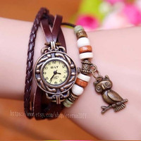 owl watch -leather wrap watch, leather band wrist watch, women wrist watches with vintage ,leaf, Leather watch bracelet