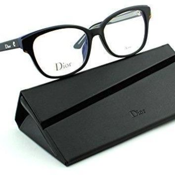 Dior Montaigne 3 Women Cateye Eyeglasses (havana Blue Black Crystal Frame (0g9z) 52)
