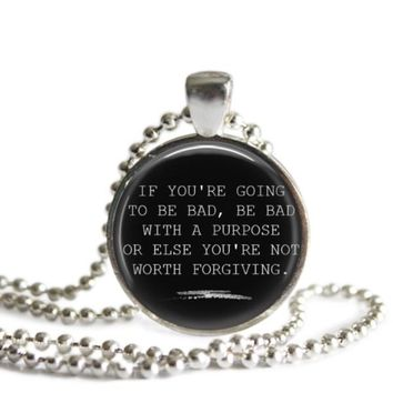The Vampire Diaries Damon Salvatore Bad With A Purpose Quote Pendant Necklace
