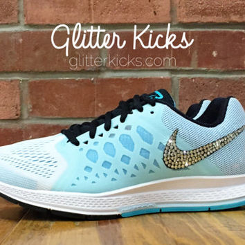 Tiffany Blue Nike Air Zoom Pegasus 31 Bling Glitter Kicks Running Shoes - Customized With Swarovski Elements Crystal Rhinestones Glacier Ice