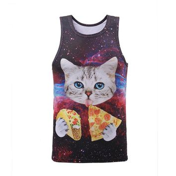Tank Top Collection Cat Pizza Space Galaxy Lion Paint All Over Print