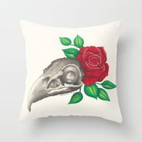 Vulture Skull Throw Pillow by haleyivers