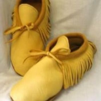 Traditional Leather Moccasins with Fringe in Gold Deerskin Indian Shoes Custom Handmade by Debbie Leather