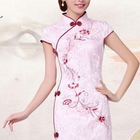 Lolita Flowers Printing Buckle Cheongsam Dress - S M L XL from Tobi's Finds