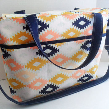 Large Diaper Bag - Arizona Agave - Zipper Closure - Messenger - Tote Bag - Diaper Bag - Stroller Strap - Monogramming Available - Laptop Bag